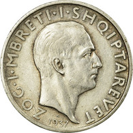 Monnaie, Albania, Zog I, Frang Ar, 1937, Rome, TTB, Argent, KM:16 - Albania