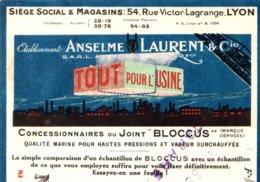 """ANSELME LAURENT  """"Tout Pour L'usine""""  LYON   Belle Illustration Couleur - Lettres De Change"""