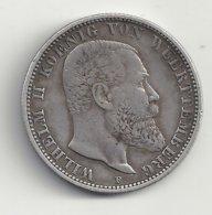 Allemagne 2 Marks 1898 F Wilhelm II Koenig Von Wuerttemberg Argent - [ 2] 1871-1918 : Impero Tedesco