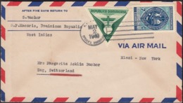 Dominican Republic - AIR MAIL Cover From S.P. MACORIS  2.5.1940 (via Miami - New York, USA) To Zug, Swiss. - República Dominicana