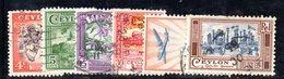 T1959 - CEYLON SRI LANKA 1950 , Yvert N. 280/285  Usata - Sri Lanka (Ceylon) (1948-...)