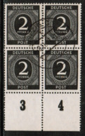 GERMANY  Scott # 531 VF USED IMPRINT BLOCK Of 4 (Stamp Scan # 533) - American,British And Russian Zone