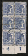 GERMANY  Scott # 572 VF USED IMPRINT BLOCK Of 6 (Stamp Scan # 533) - [7] Federal Republic