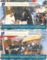 @+ Lot De 2 Cartes Du Ghana à Puce - Oguaa Fetu Afahye - Ghana