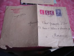 Lettre Timbre Leon Gambetta 55 C Plus 3 Semeuse Horoplan Cachet Horidaeur Montendre - 1877-1920: Periodo Semi Moderno