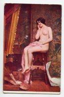 NU ART 0051 En L'abscence Du Peintre Femme Modèle Nue Assise  Léon Comerre Salon De Paris     EROTISME NUS NUDE - Tableaux