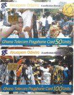 @+ Lot De 2 Cartes Du Ghana à Puce - Akuapem Odwira - Ghana