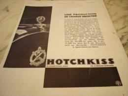 ANCIENNE PUBLICITE VOITURE HOTCHKISS NE CHERCHEZ PLUS 1931 - Trucks