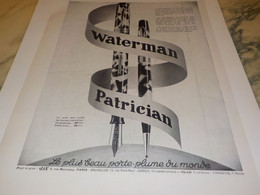 ANCIENNE PUBLICITE PATRICIAN WATERMAN  1931 - Other Collections