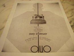 ANCIENNE PUBLICITE PARFUM D ORSAY LE DANDY- 1931 - Perfume & Beauty
