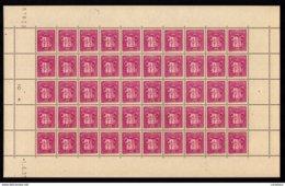 !! ANDORRE ANDORRA 1937 Rare Et Superbe Feuille Entière De 50 Timbres Armoiries 15c LILAS Coin Daté -1.4.37 ** LUXE - Andorre Français