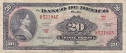 BILLETE DE MEXICO DE 20 PESOS DEL AÑO 1970 (BANKNOTE) - Mexico