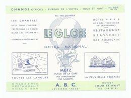 LE GLOBE HOTEL NATIONAL METZ BRASSERIE RESTAURANT SNACK-BAR BAR AMERICAIN A.B.C. LES BIERES AMOS - Metz