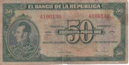 BILLETE DE COLOMBIA DE 50 PESOS DE ORO DEL AÑO 1953  (BANK NOTE) MUY RARO - Colombia