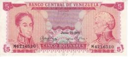 BILLETE DE VENEZUELA DE 5 BOLIVARES DEL AÑO 1971 (BANK NOTE) - Venezuela