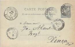 Entier Postal - Sage 10c Oblit. Cad St-Laurent-de-la-Salanque 1893, Cad Salces, Cad Vinça, Ambulant Perpignan à Prades - Marcophilie (Lettres)