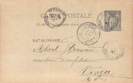 Entier Postal - Sage 10c Oblit. Cad Olette 1895, Cad Prades, Cad Vinça - Marcofilia (sobres)