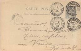 Entier Postal - Sage 10c Oblit. Cad Perpignan 1895, Cad Vinça - Marcofilia (sobres)