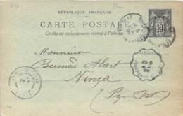 Entier Postal - Sage 10c Oblit. Cad Elne 1898, Cad Vinça, Ambulant Perpignan à Villefranche - Marcophilie (Lettres)