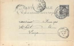 Entier Postal - Sage 10c Oblit. Cad Ille-s-Le-Tet 1897, Cad Vinça - Marcophilie (Lettres)
