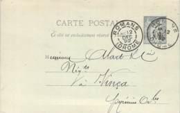 Entier Postal - Sage 10c Oblit. Cad Romans 1892 - Marcophilie (Lettres)