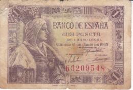 BILLETE DE ESPAÑA DE 1 PTA DEL 15/06/1945 ISABEL LA CATÓLICA SERIE K (BANKNOTE) - 1-2 Pesetas