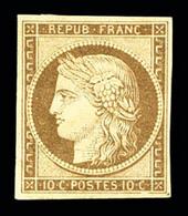 * N°1, 10c Bistrejaune, Légères Froissures De Gomme, TB (signé Brun/certificat)  Qualité: *   Cote: 3000 Euros - 1849-1850 Ceres