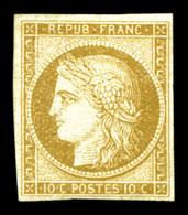 (*) N°1, 10c Bistrejaune. TB (signé/certificat)  Qualité: (*)  Cote: 900 Euros - 1849-1850 Ceres