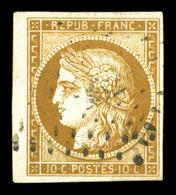 O N°1, 10c Bistrejaune, Petit Bord De Feuille Latéral. TTB (signé Brun/Calves/certificat)  Qualité: O - 1849-1850 Ceres