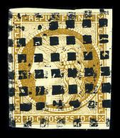 O N°1, 10c Bistre Obl Gros Points Carrés. TTB (signé Calves/certificat)  Qualité: O  Cote: 380 Euros - 1849-1850 Ceres