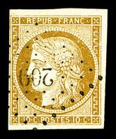 O N°1, 10c Bistrejaune Obl PC '209'. TB (signé Calves)  Qualité: O  Cote: 355 Euros - 1849-1850 Cérès