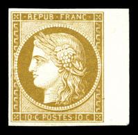 (*) N°1a, 10c Bistrebrun, Bord De Feuille Latéral. SUP (signé Calves/certificat)  Qualité: (*) - 1849-1850 Ceres