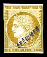 * N°1, 10c Bistre, Impression De 1862, Surchargé 'SPECIMEN'. SUP . R.R. (signé Scheller/certificats)  Qualité: * - 1849-1850 Ceres