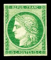 * N°2, 15c Vert, Restauré, Belle Présentation. R.R. (certificats)  Qualité: *  Cote: 27000 Euros - 1849-1850 Ceres