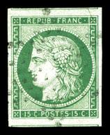 O N°2, 15c Vert Obl étoile Muette, Grandes Marges Avec 2 Voisins, Pièce Choisie. SUPERBE (certificat)  Qualité: O - 1849-1850 Ceres