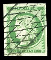 O N°2, 15c Vert Oblitération Grille Sans Fin, Grandes Marges. SUP (certificat)  Qualité: O  Cote: 1000 Euros - 1849-1850 Ceres