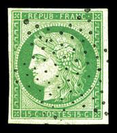 O N°2, 15c Vert, Oblitération étoile Légère. SUP (signé Calves/certificat)  Qualité: O  Cote: 1050 Euros - 1849-1850 Ceres
