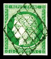 O N°2, 15c Vert Oblitéré Grille. TTB (signé Calves/certificat)  Qualité: O  Cote: 1050 Euros - 1849-1850 Ceres