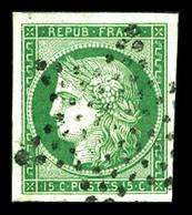 O N°2, 15c Vert, Infime Pelurage En Marge, Belles Marges. TTB (certificat)  Qualité: O  Cote: 1050 Euros - 1849-1850 Ceres