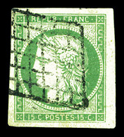 O N°2a, 15c Vert Clair, Bord De Feuille, Grandes Marges. SUP (signé Calves/certificat)  Qualité: O - 1849-1850 Ceres
