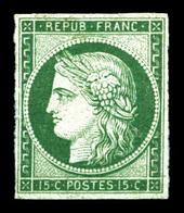(*) N°2b, 15c Vertfoncé, Quatre Belles Marges Et Jolie Couleur, R.R.R (signé Calves/certificats)  Qualité: (*)  Cote: 16 - 1849-1850 Ceres