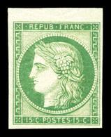 ** N°2e, 15c Vert, Impression De 1862, Bdf. Fraîcheur Postale, SUP (certificat)  Qualité: ** - 1849-1850 Ceres