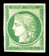 * N°2e, 15c Vert, Impression De 1862, Très Frais. TTB (certificat)  Qualité: *  Cote: 850 Euros - 1849-1850 Ceres