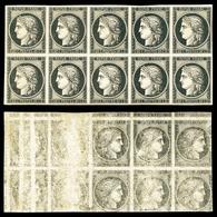 ** N°3, 20c Noir Sur Jaune, Impression Rectoverso En Bloc De 10 Exemplaires. SUPERBE. R.R. (signé Calves/certificat)  Qu - 1849-1850 Ceres