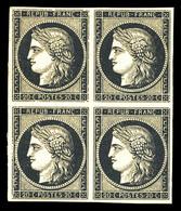 ** N°3, 20c Noir Sur Jaune En Bloc De Quatre (2ex*), FRAÎCHEUR POSTALE, SUPERBE (signé Calves/certificat)   Qualité: ** - 1849-1850 Ceres