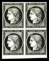 * N°3, 20c Noir En Bloc De Quatre, Bord De Feuille Inférieur, SUP (signé Calves/certificat)  Qualité: *  Cote: 2800 Euro - 1849-1850 Ceres