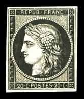 * N°3, 20c Noir Sur Jaune, Fraîcheur Postale, SUP (signé Brun/certificat)  Qualité: *  Cote: 625 Euros - 1849-1850 Ceres