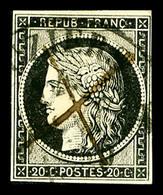 O N°3, 20c Noir Obl Grand Càd T13 De Béziers 4 Janvier 1849. SUP. R. (signé/certificat)  Qualité: O  Cote: 1500 Euros - 1849-1850 Ceres