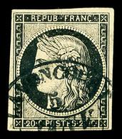 O N°3, 20c Noir Obl Moyen Cachet à Date T14 De Lavancourt (69) 5 Janvier 49. SUP. R.R. (signé Calves/certificat)  Qualit - 1849-1850 Ceres