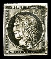 O N°3, 20c Noir Obl Càd Type 15 Du 5 Janvier 1849, TTB (signé Brun)  Qualité: O  Cote: 500 Euros - 1849-1850 Ceres